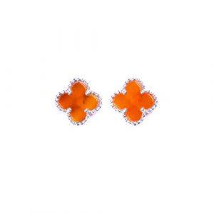 Puces d'oreilles mini trèfle cornaline