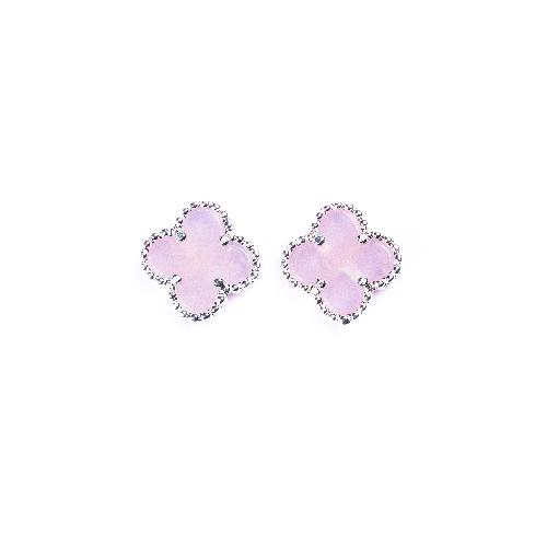 Puces d'oreilles mini trèfle quartz rose