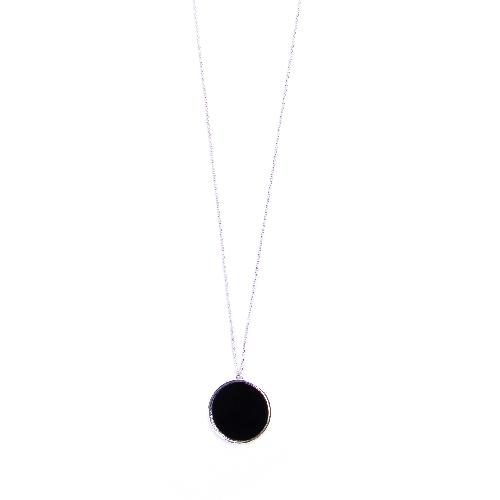 Collier jeton agate noire