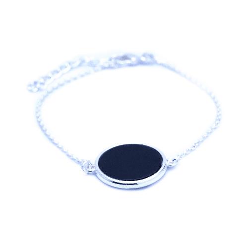 Bracelet jeton noir argent