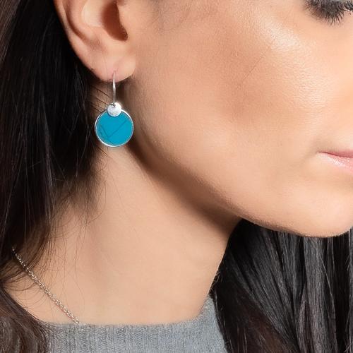 Boucles d'oreilles jeton turquoise