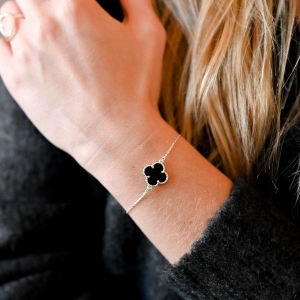 Bracelet trèfle agate noire argent