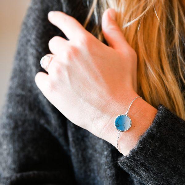 Bracelet jeton turquoise argent
