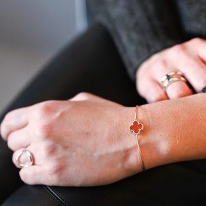 Bracelet cordon mini trèfle cornaline