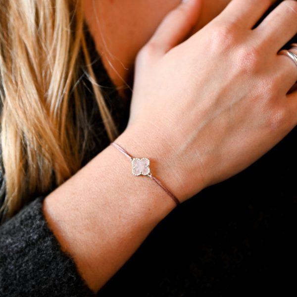 Bracelet cordon rose argent