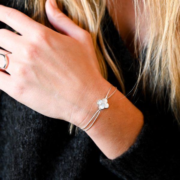 Bracelet cordon nacre argent