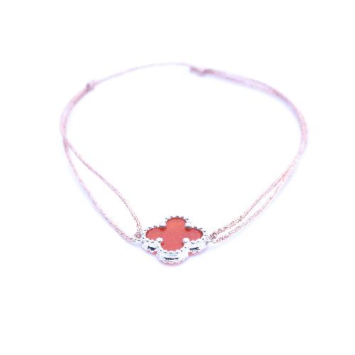 Bracelet cordon cornaline argent