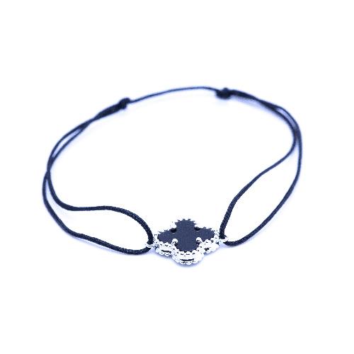 Bracelet cordon trèfle noir argent