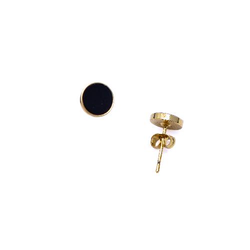 Puces d'oreilles mini jeton agate noire