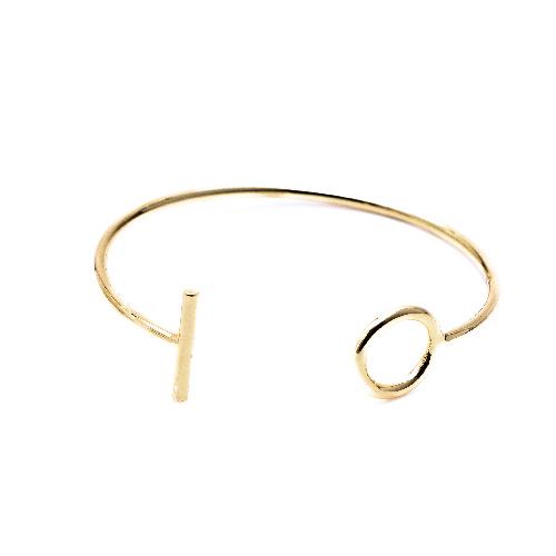Bracelet jonc rond barre or
