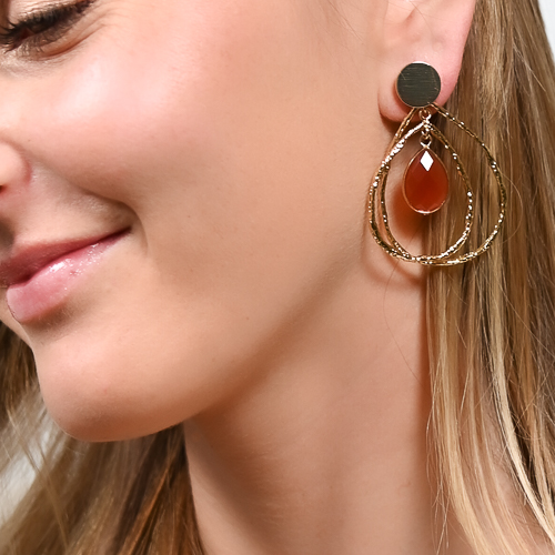 Boucles d'oreilles jalan cornaline