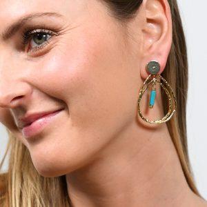 Boucles d'oreilles jersey turquoise