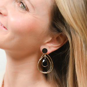 Boucles d'oreilles jalan agate noire
