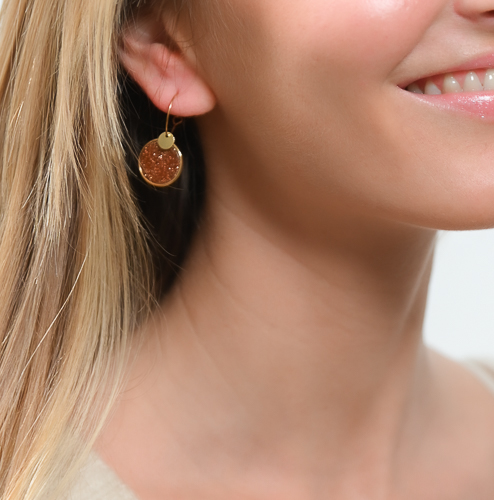 Boucles d'oreilles jeton gold stone