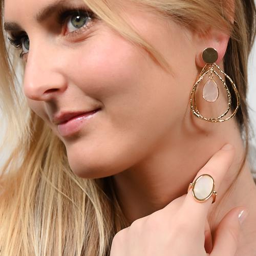 Boucles d'oreilles jalan quartz rose