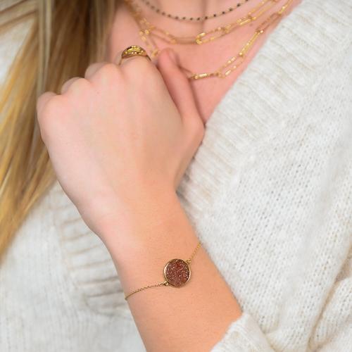 Bracelet jeton gold stone