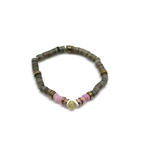 Bracelet coquillage taupe et rose