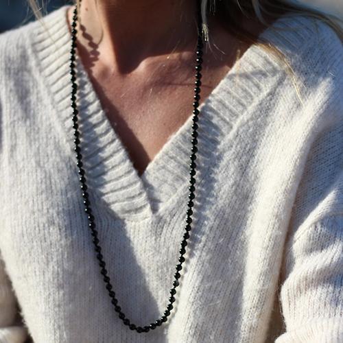 Sautoir perles agate noire