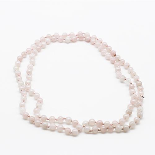 Sautoir perles quartz rose