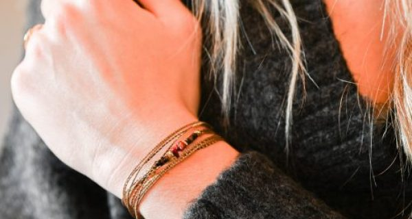 Bracelet multi tours orna rouge